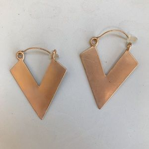 Gold V earrings